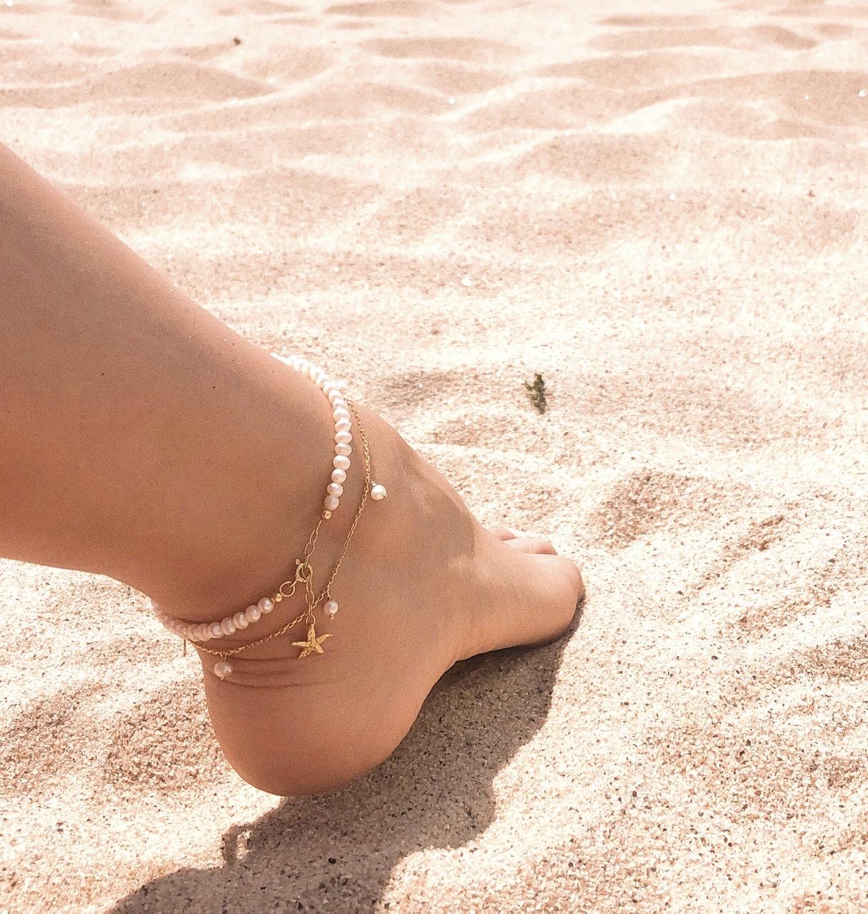 Pulseira tornozelo | pérolas