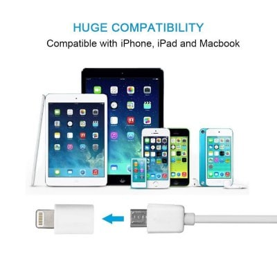 5PCS 8-Pin to Micro Usb Socket Converter / Adaptador / para Iphone5 / 5s / 6 / 6s / 7 / 7s / 8 / 8x / Ipad 4 / Aire