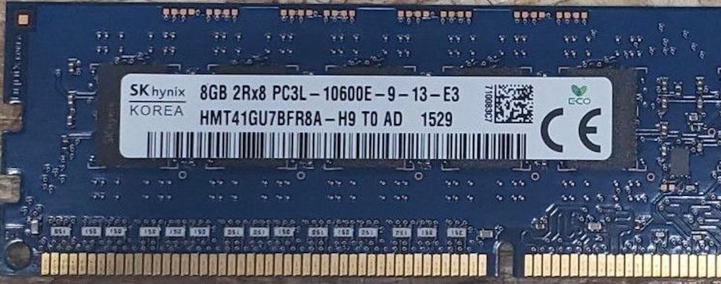 Memoria Ram 8gb / 1333Mhz EDIMM PC3L-10600E / Ecc Unbuffered  / 1.35v / 647658-081 647909-B21