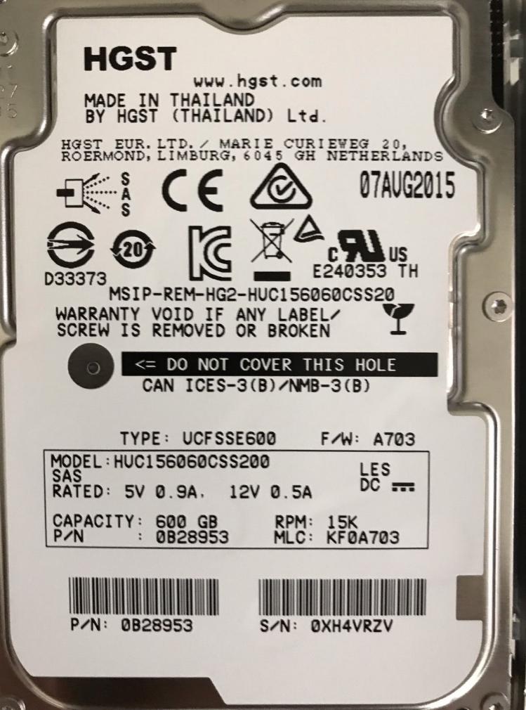 Disco Duro SAS 600GB Hitachi 15K SAS 2.5