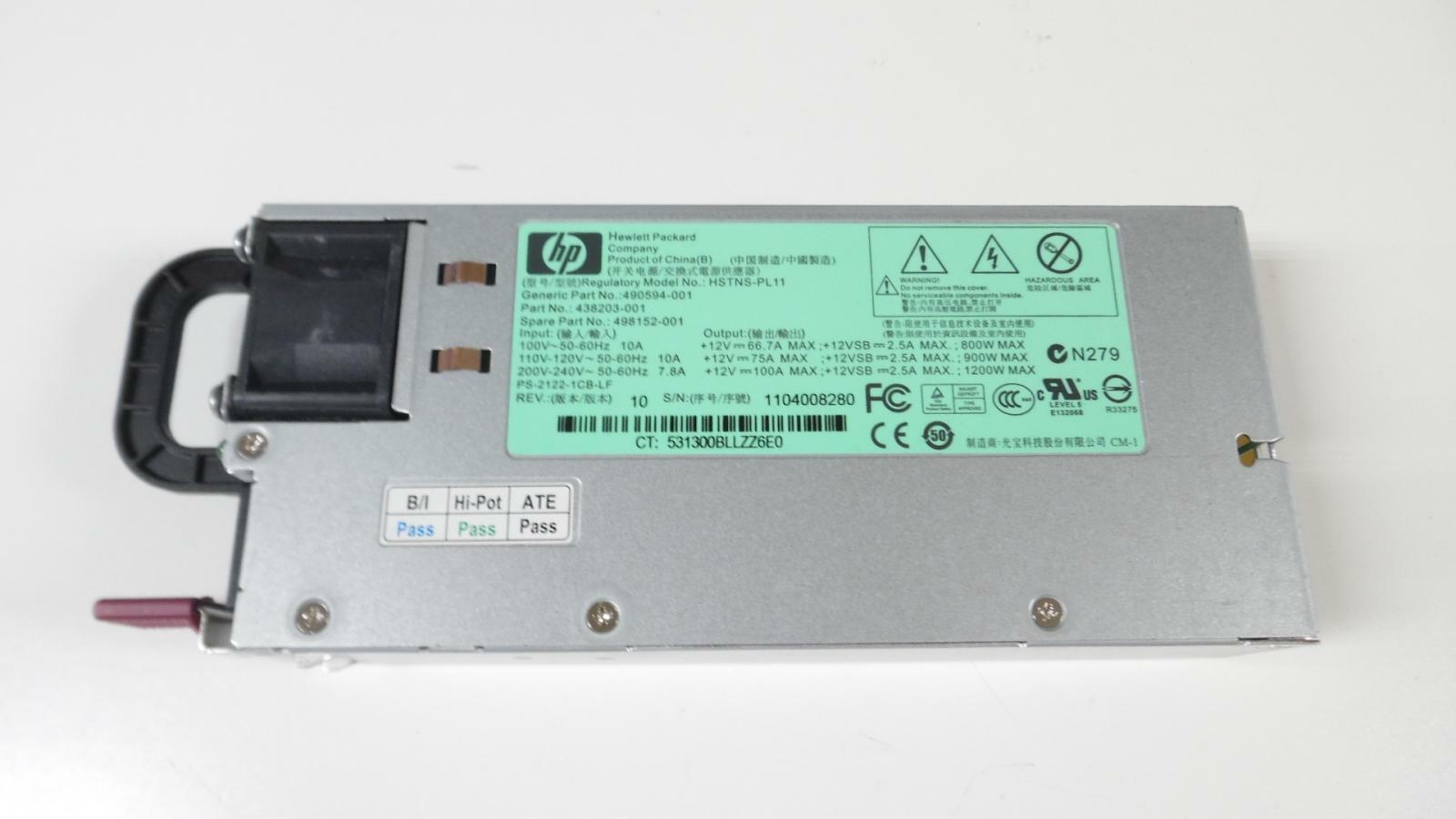 Fuente de Poder Hp 1200 Watts  438203-001  498152-001 490594-001 G6 G7 G5P Power Supply HSTNS-PL11