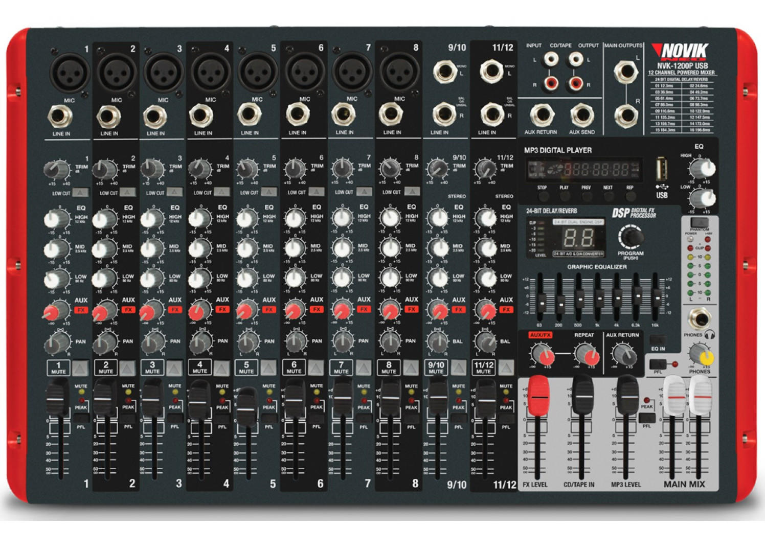 Mixer Amplificado Novik NVK-1200P BT
