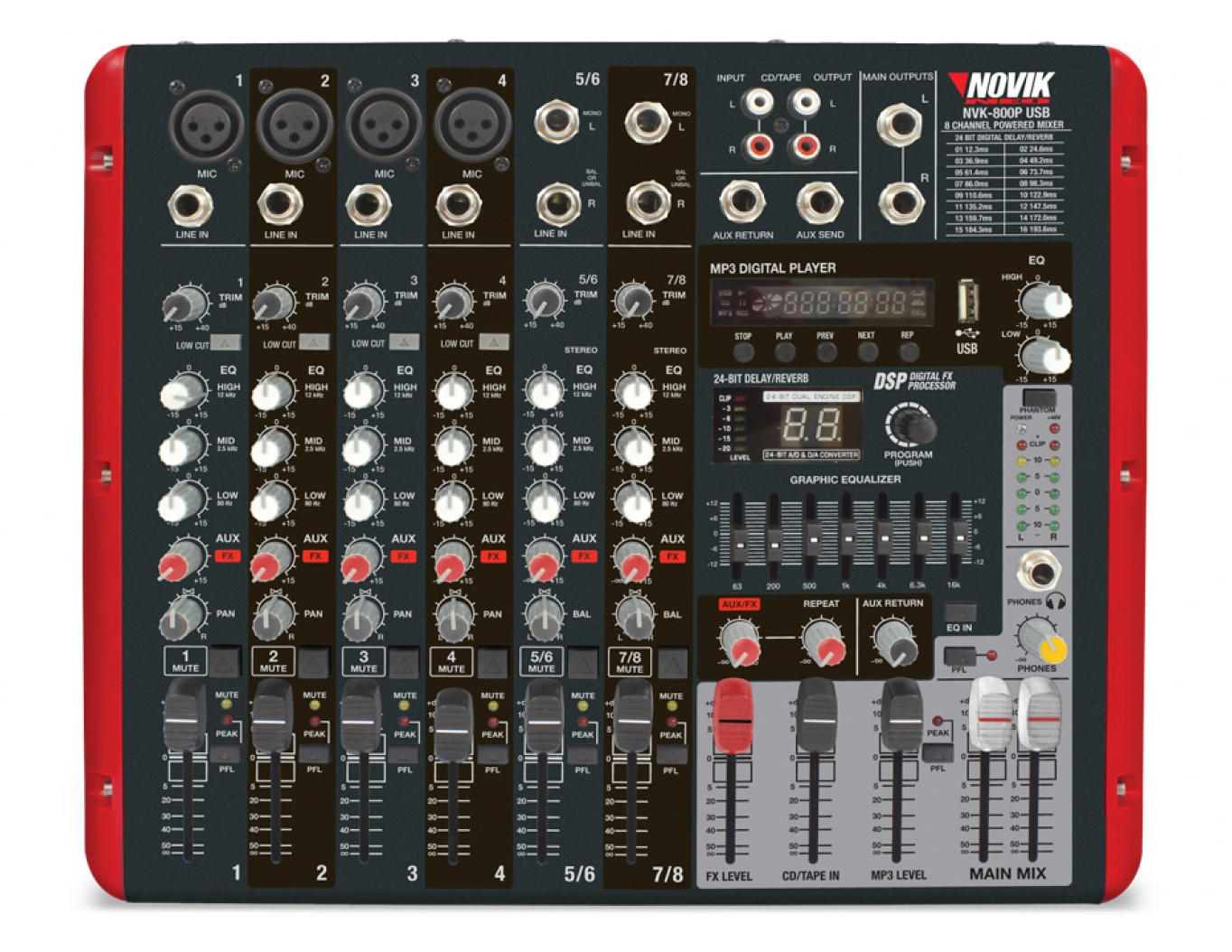 Mixer Amplificado Novik NVK-800P BT