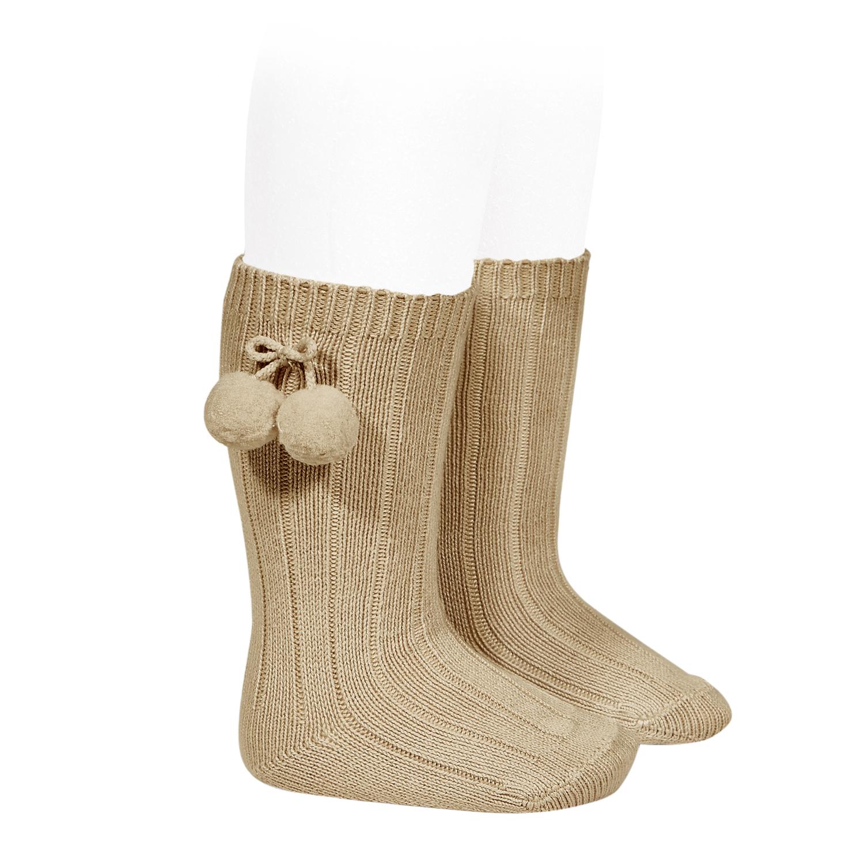Calcetines altos acanalados algodon calido borlas