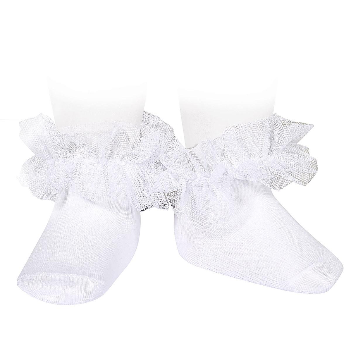 Calcetines tobilleros con tira de tul fruncido