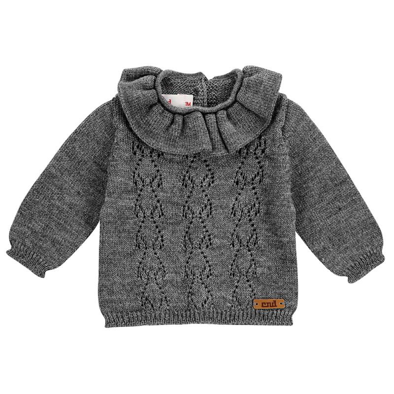 Jersey mezcla lana merino volante y diseno calado