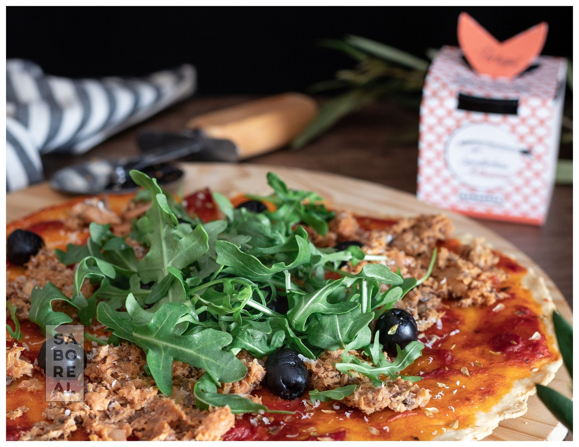 Pizza with Sardines and Arugula