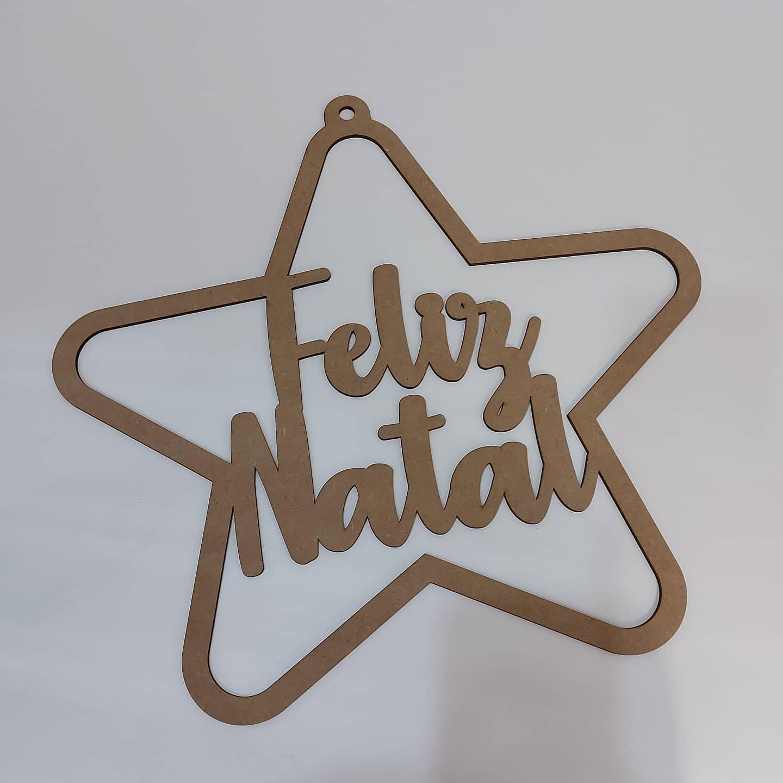 Estrela MDF Feliz Natal L
