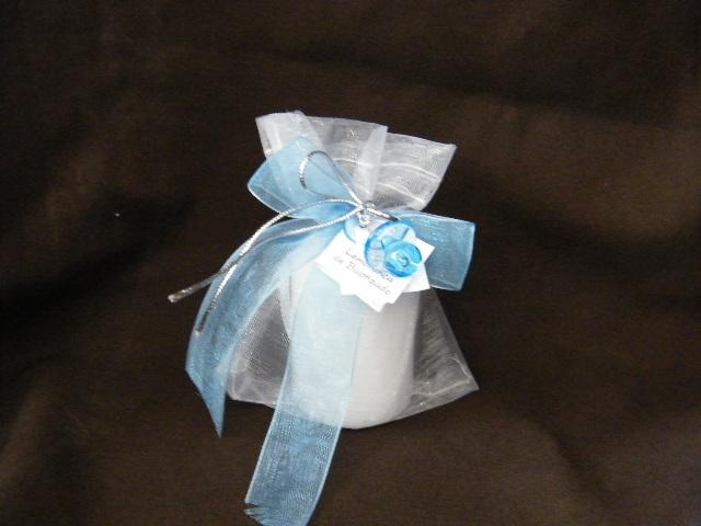 C13206- Vela pequena no saco decorada azul