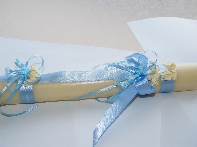 C9094 - Vela redonda para Batizado decorada azul