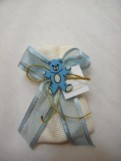 C14209 - Saco em tecido quadrilé decorado em azul com ursinho