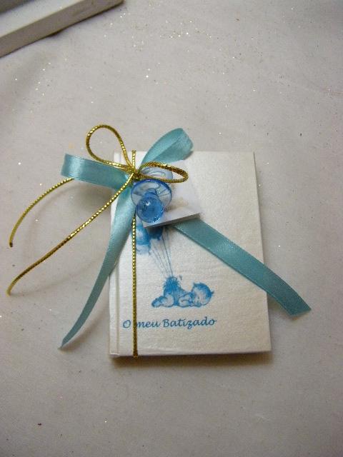 C14205 - Livro de notas pequeno decorado em azul e dourado com chupeta