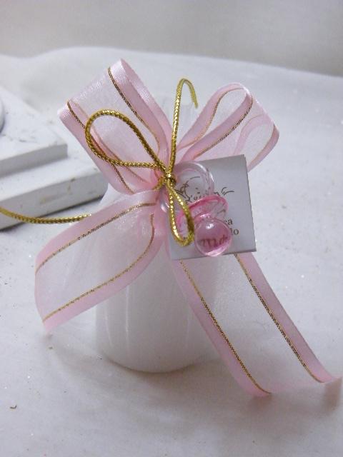 C15209 - Vela em saco de organza decorado a cor-de-rosa e dourado