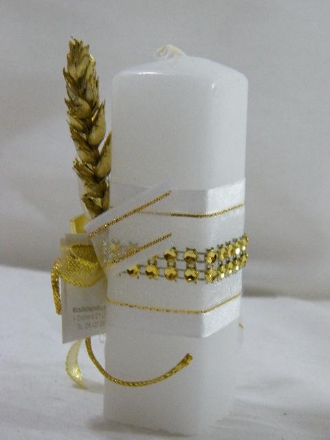 C15315 - Vela quadrada decorada em ouro com espiga e cálice