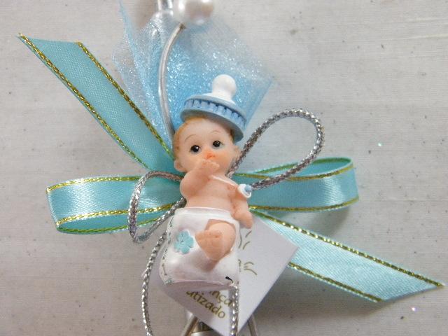 C15236 - Caneta decorada com bebé em azul e arame