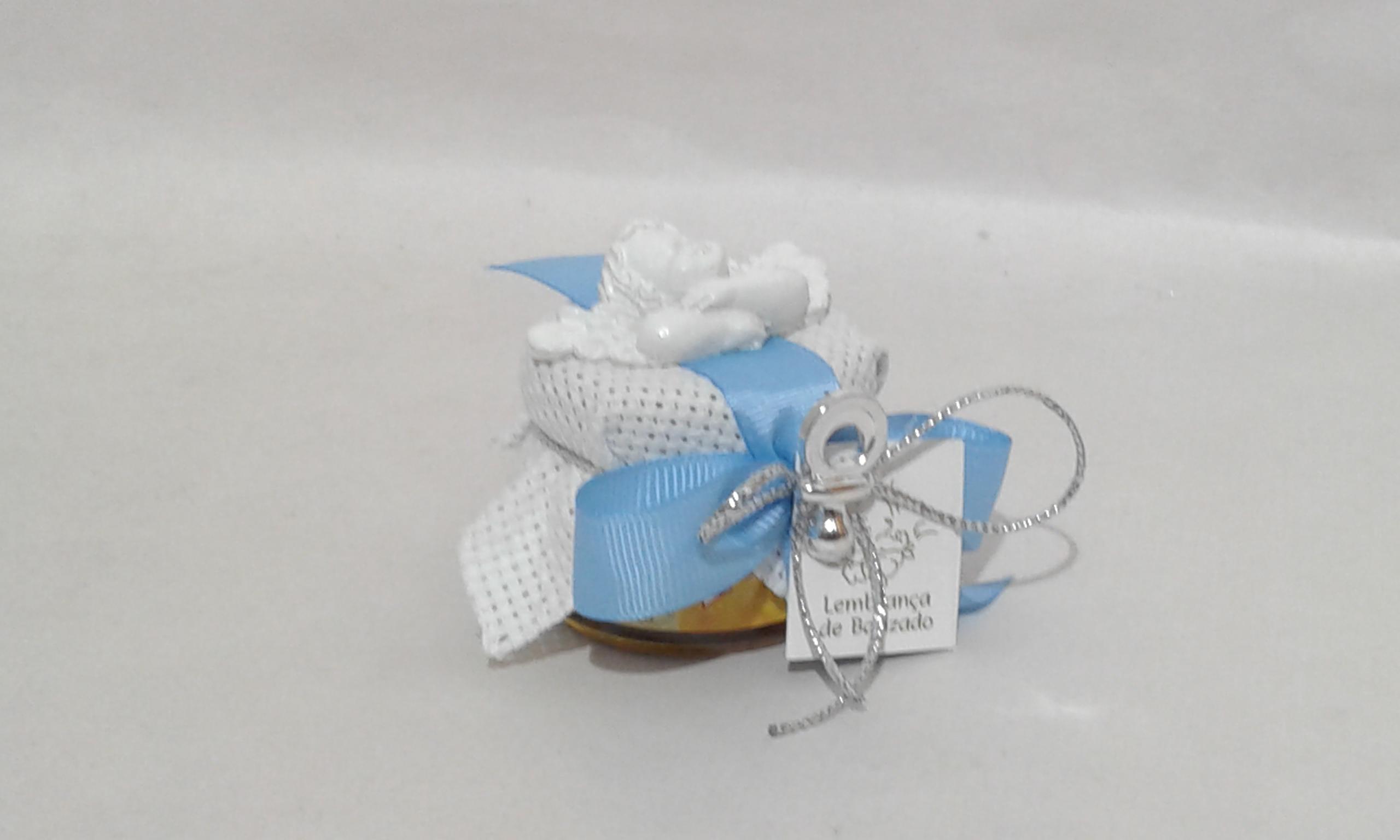 C18224 Frasquinho mel decorado azul com busto de anjo