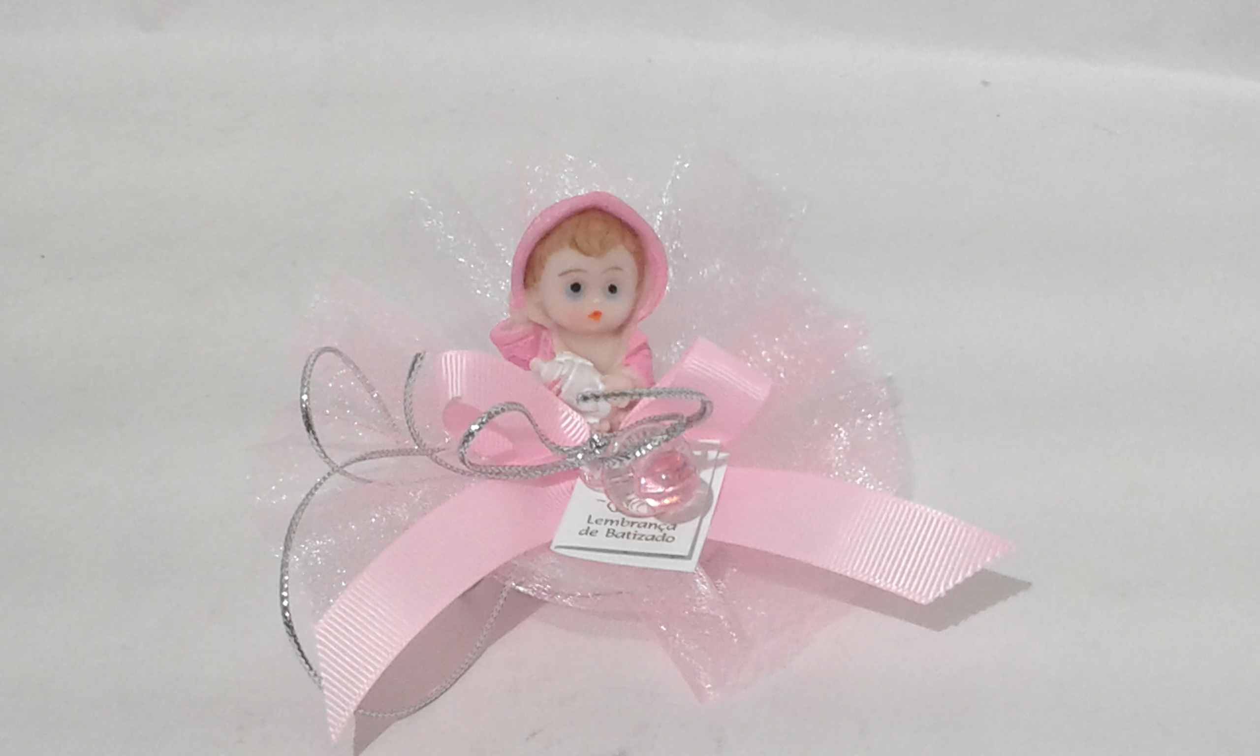 C18218 Tule com sabonete decorado bebe rosa