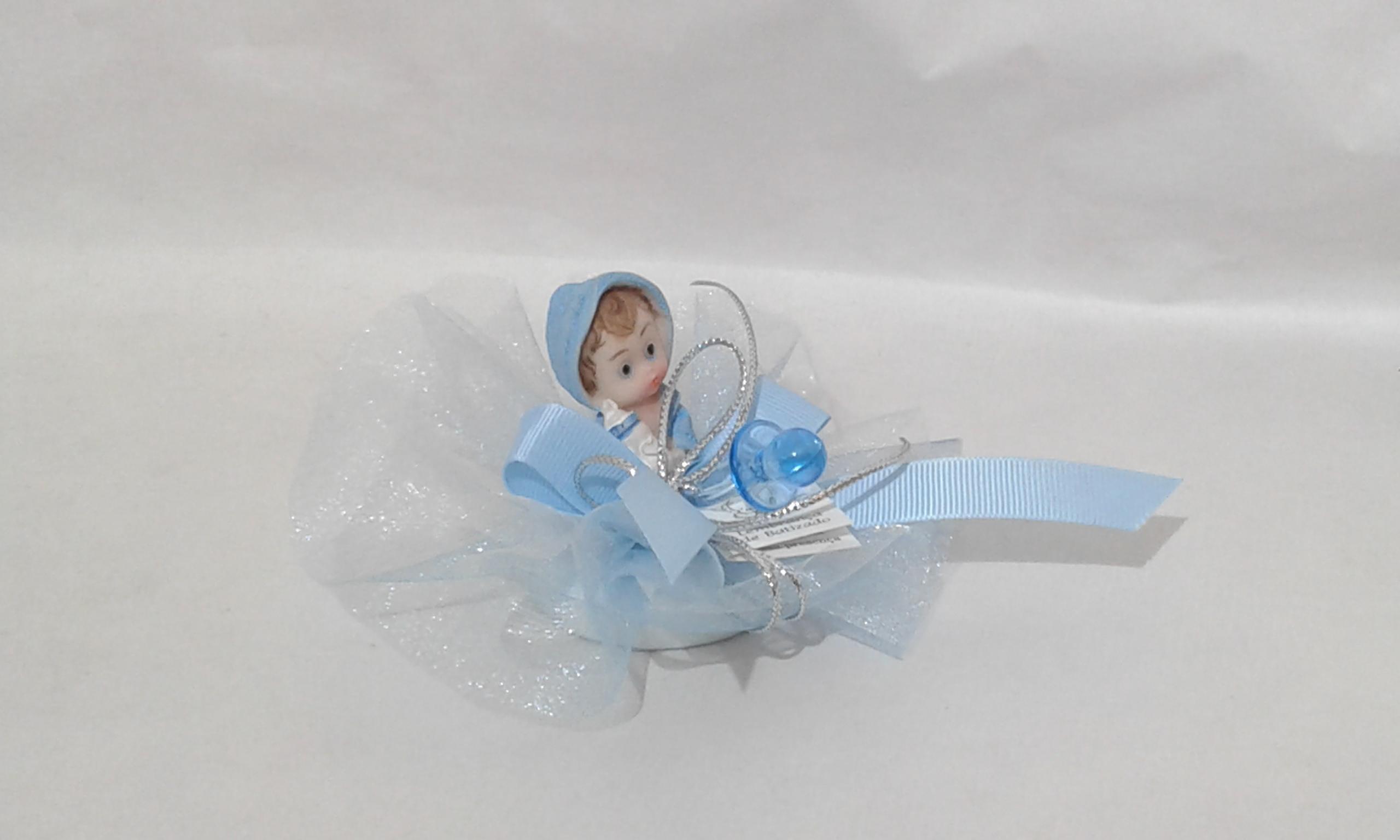 C18219 Tule com sabonete decorado bebe azul