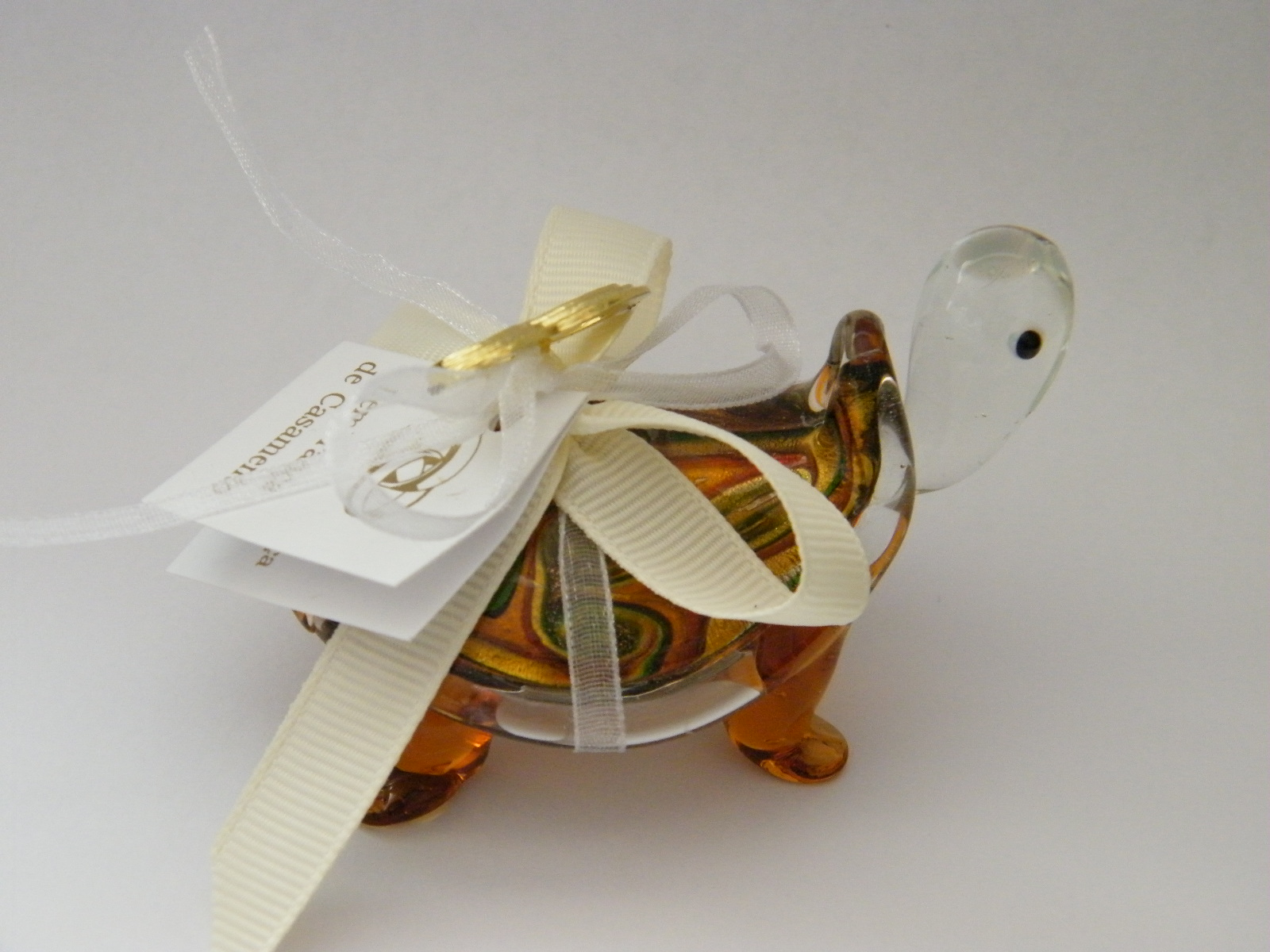 C18005 Tartaruga vidro decorada