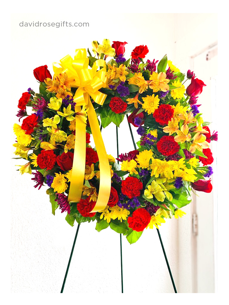 Colorful Standing Sympathy Wreath
