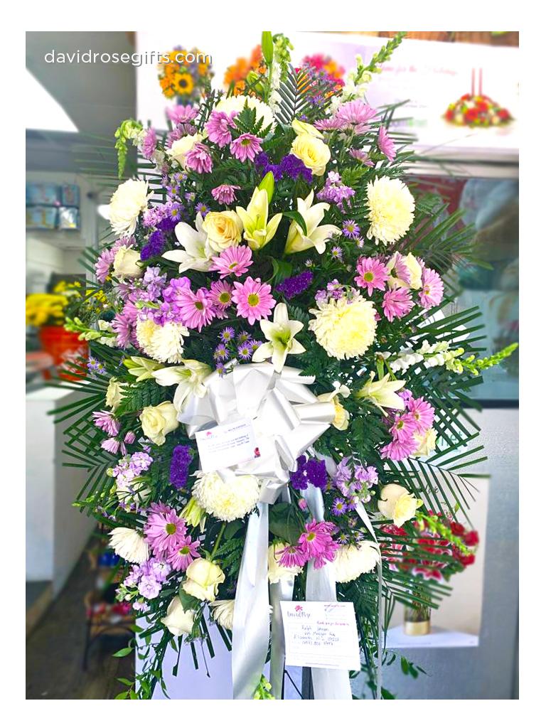 Corona de Flores Blanco y Lavanda