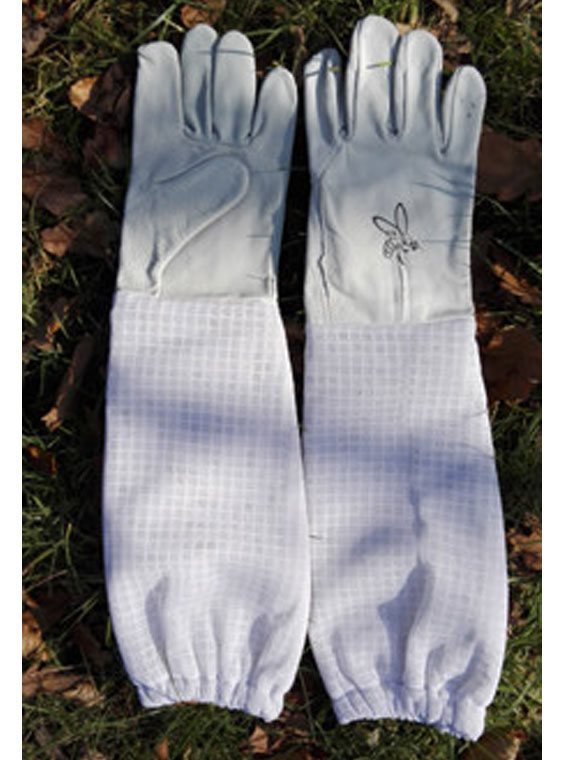 Beekeepers gloves type 1, leather, with long gauntlets from mesh