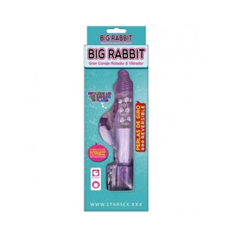 Big Rabbit Vibrador y Rotador con Luces de Colores