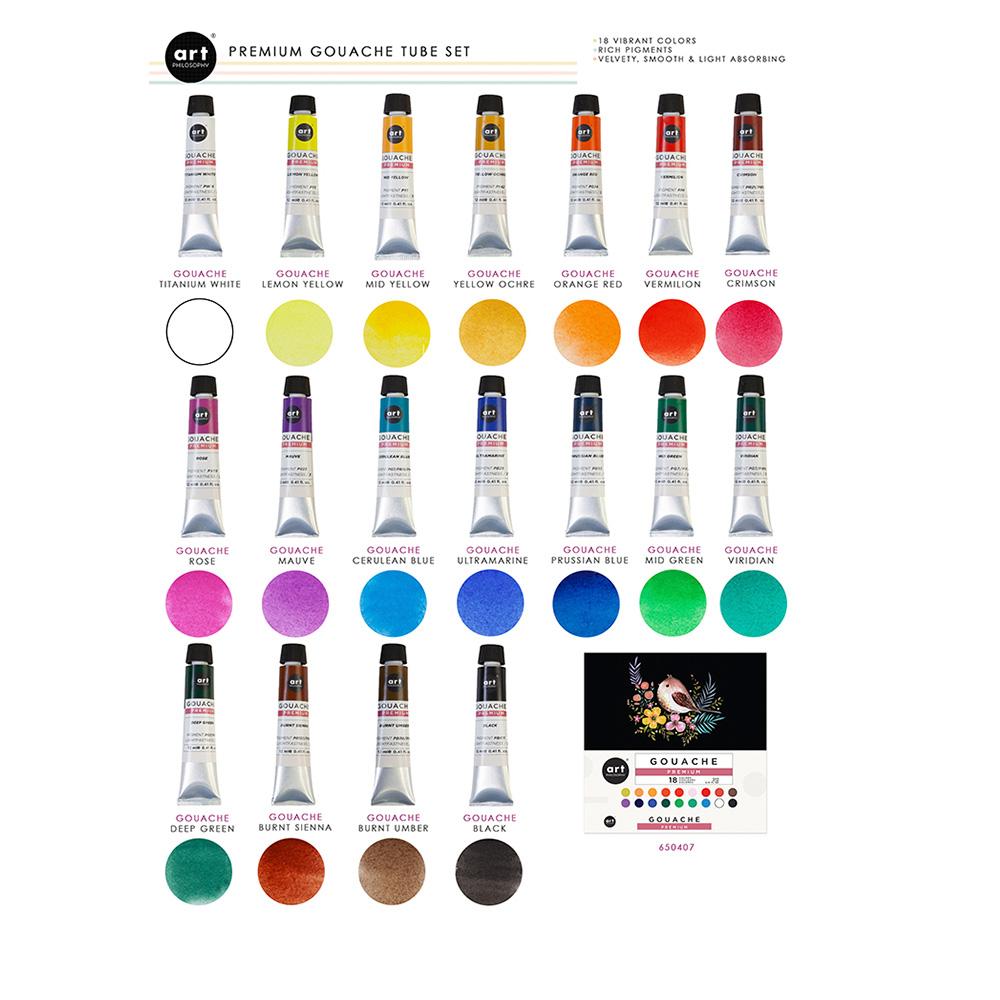 Art Philosophy - Set 18 Pinturas Gouache Premium Tubos 12 ml