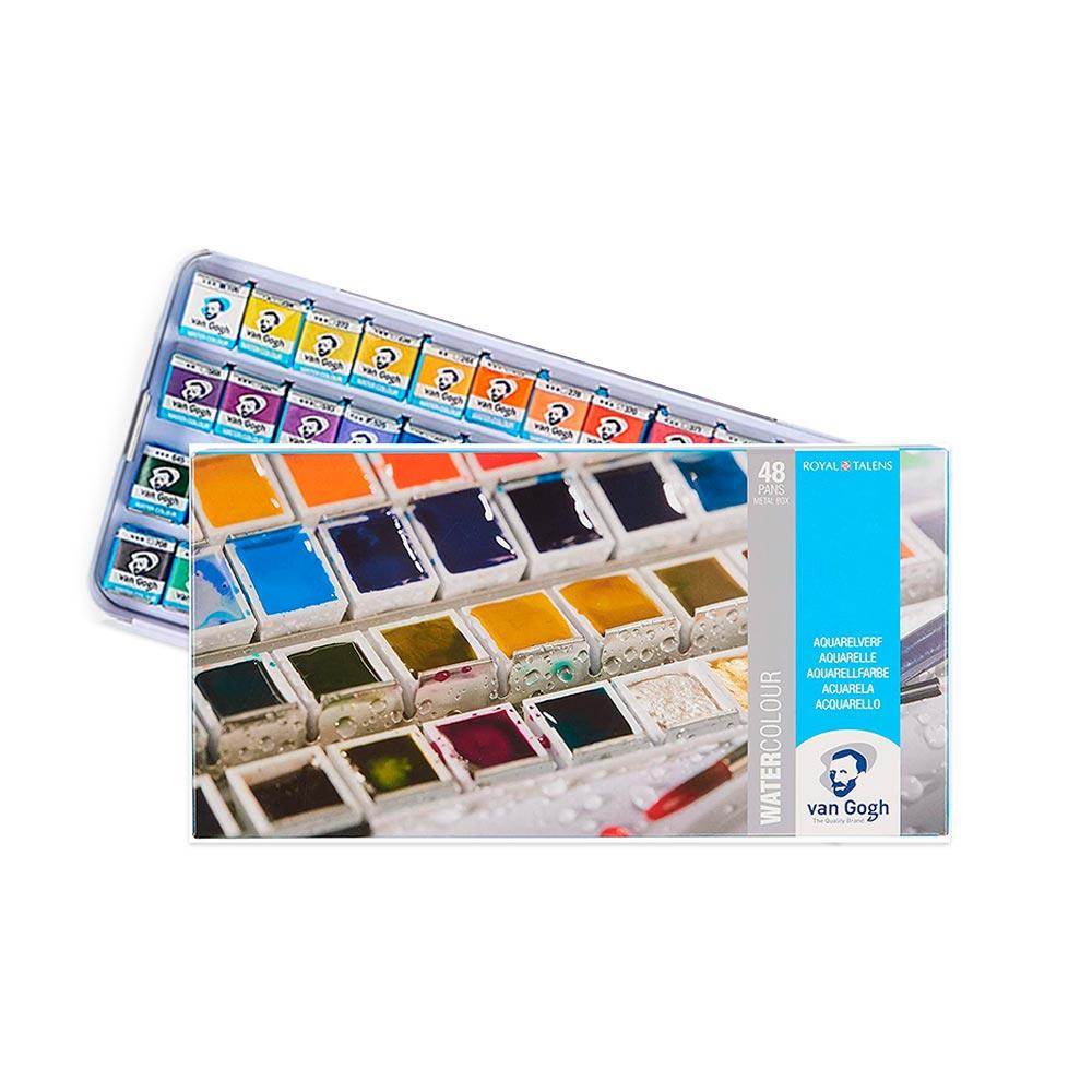 Van Gogh - Set 48 Acuarelas en Pastilla Caja Metálica