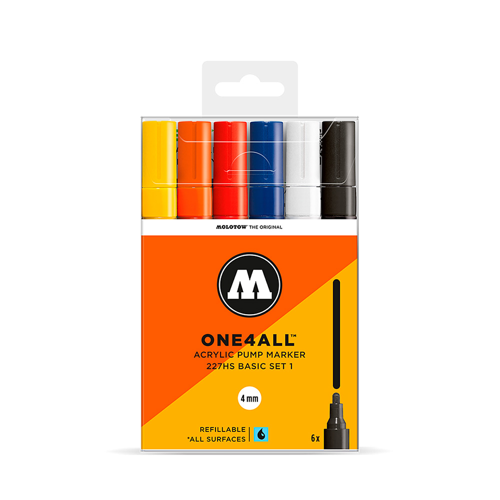 Molotow One4All - Set 6 Marcadores 227HS 4 mm Basic 1