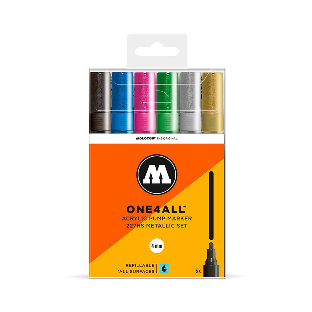 Molotow One4All - Set 6 Marcadores 227HS 4 mm Metallic