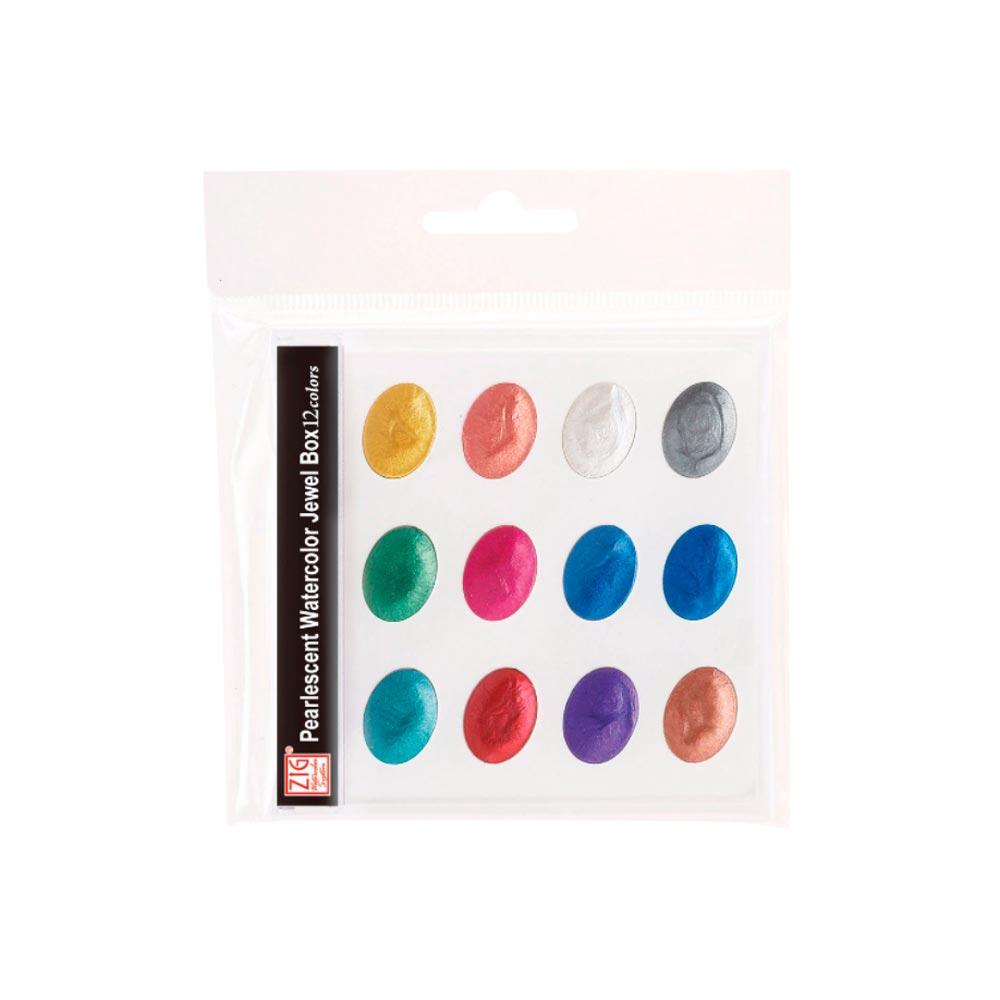 Kuretake Zig - Set 12 Acuarelas Watercolor System Pearlescent Jewel Box