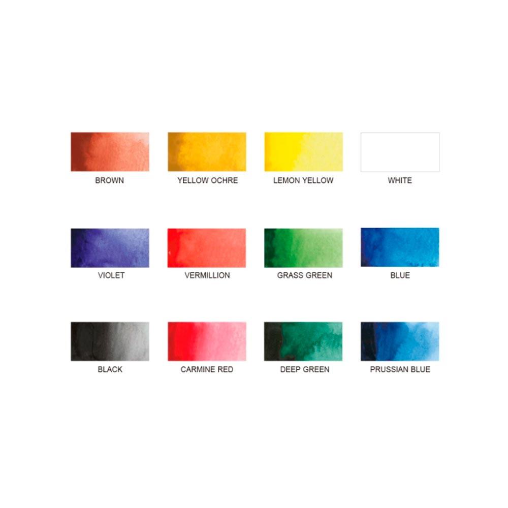 Kuretake Zig - Set 12 Acuarelas Watercolor System Transparent Palette