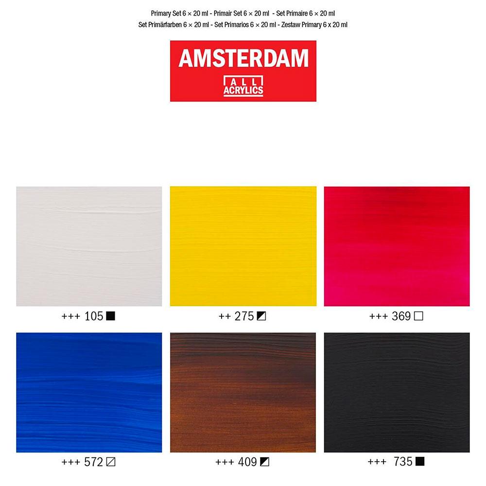 Amsterdam Standard Series - Set 6 Acrílicos 20 ml Colores Primarios