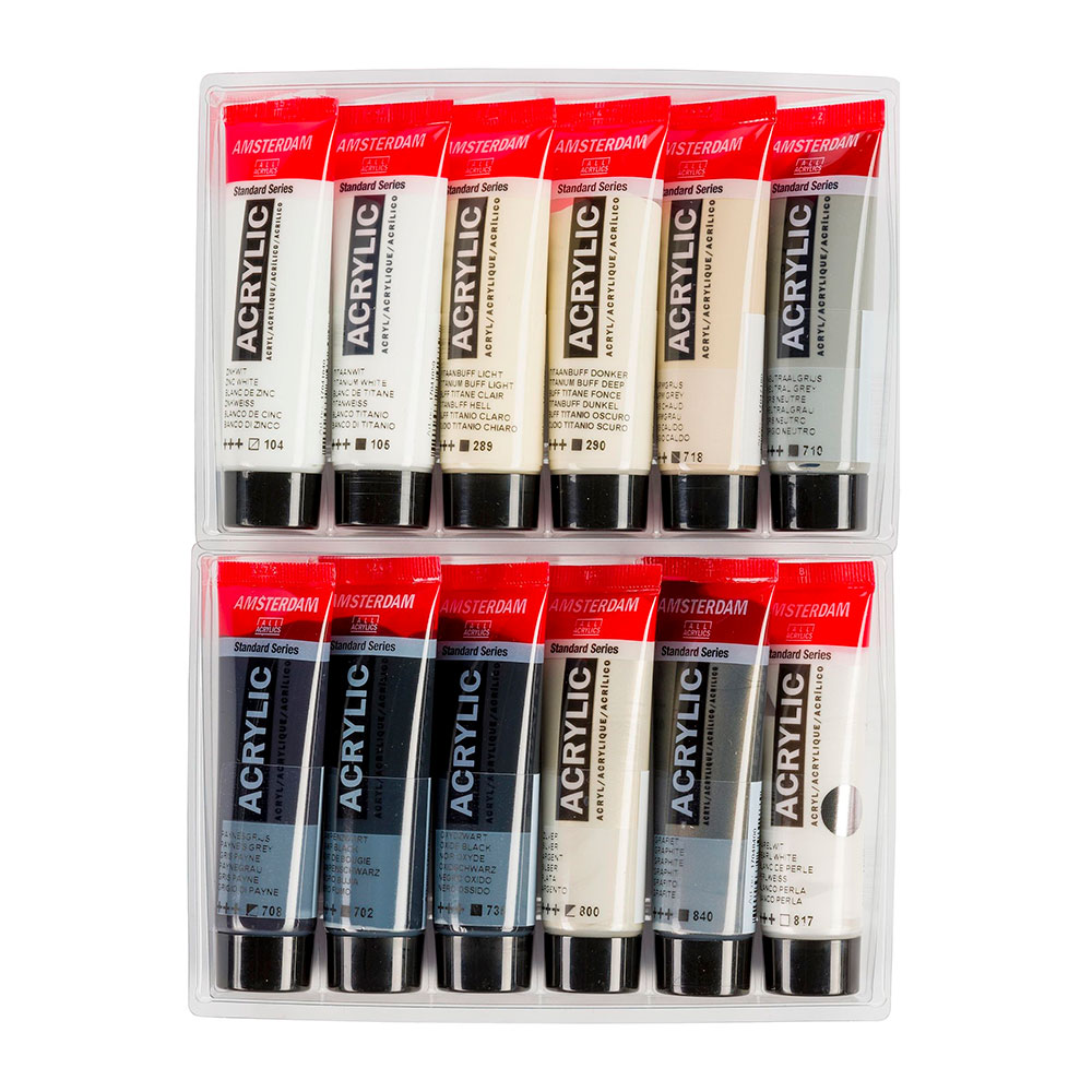 Amsterdam Standard Series - Set 12 Acrílicos 20 ml Grises