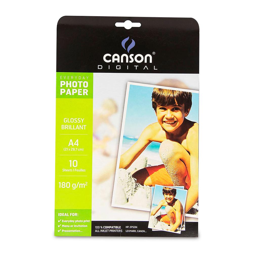 Canson Digital - Papel Fotográfico A4 21 x 29,7 cm, 10 Hojas, 180 g/m2