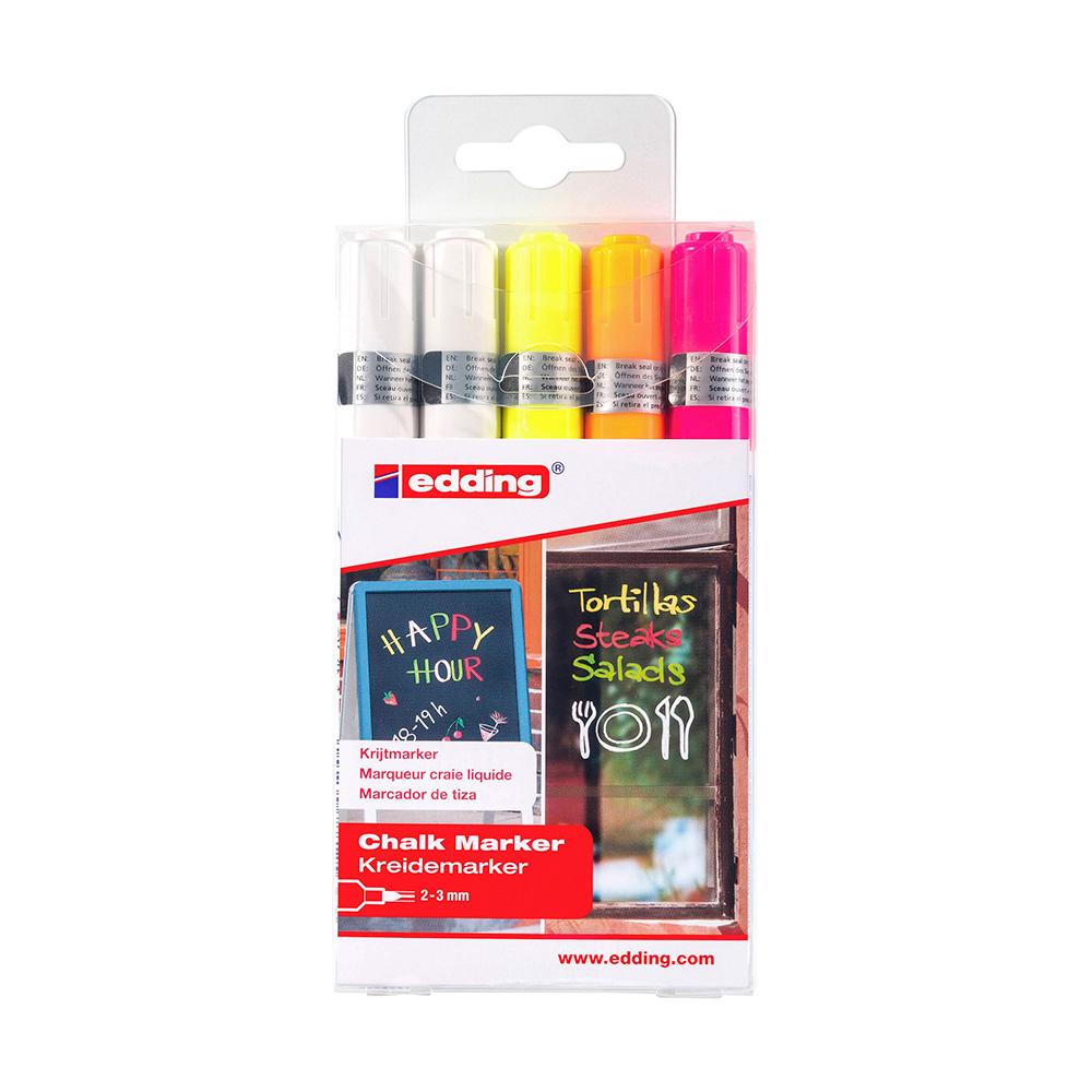Edding 4095 - Set 5 Marcadores de Tiza Liquida (2-3 mm) Colores Neon