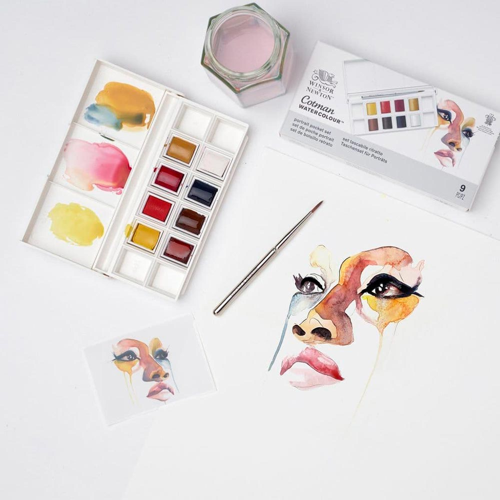 Winsor & Newton Cotman - Set 8 Acuarelas Pastilla Retrato