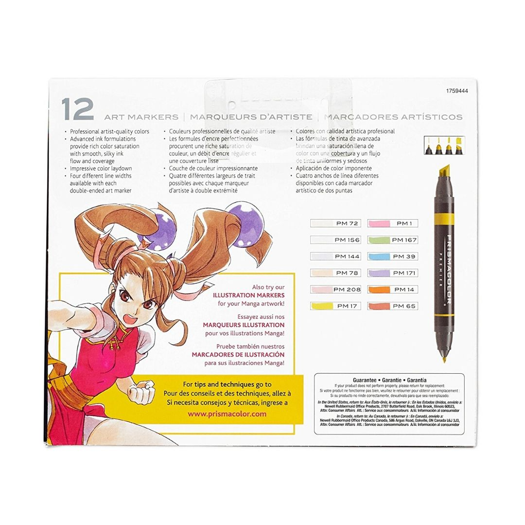 Prismacolor Premier - Set 12 Marcadores; Doble Punta, Serie Manga