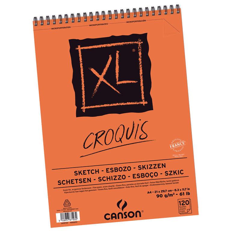 Canson XL - Croquera Croquis, A4 21 x 29,7 cm, 120 Hojas, 90 gr/m2
