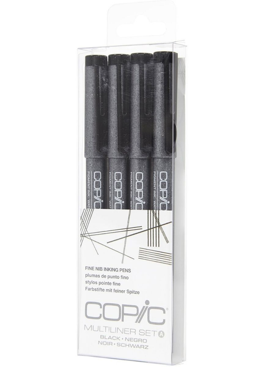 Copic Multiliner - Set 4 Tiralíneas Negro; Punta Fina