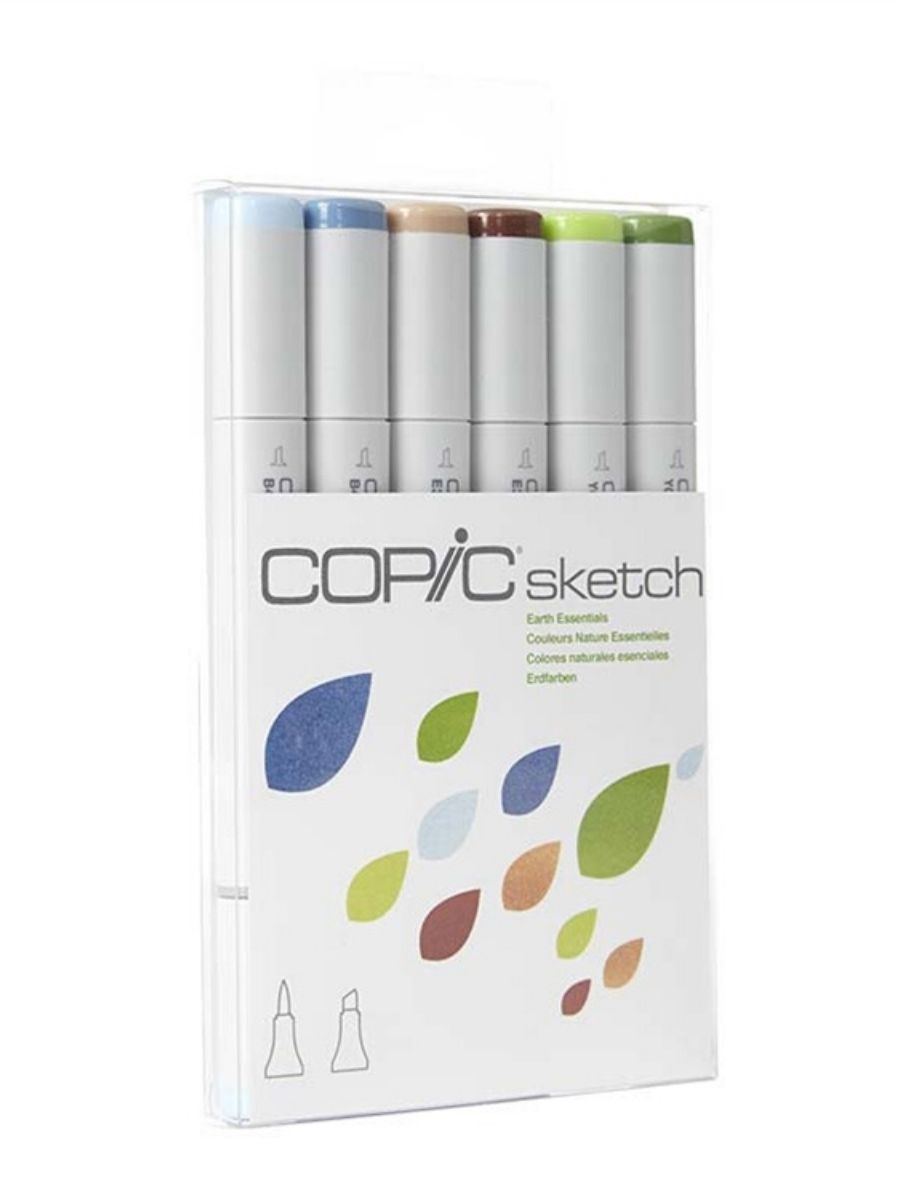 Copic Sketch - Set 6 Marcadores Earth Essentials; Colores Naturales Esenciales