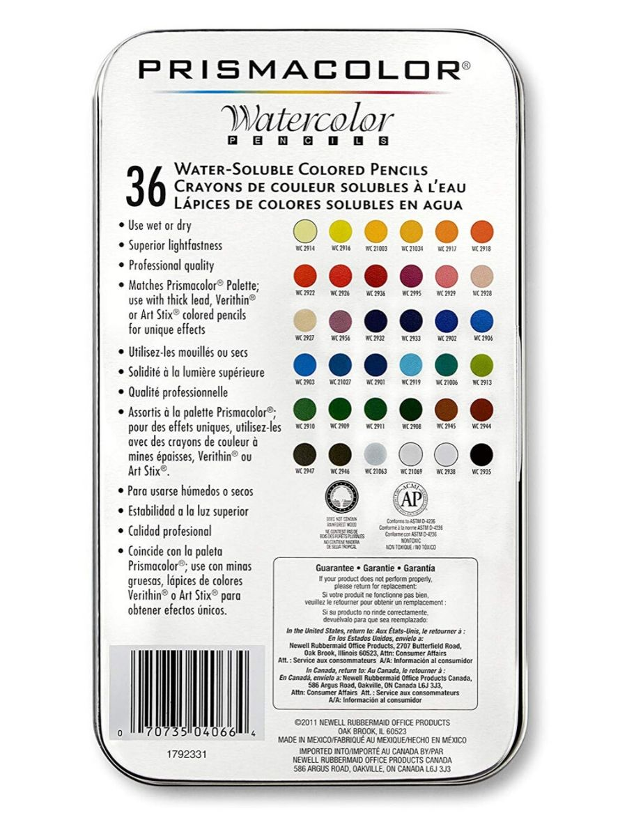 Prismacolor Premier - Set 36 Lápices de Colores; Watercolor (Acuarelables)