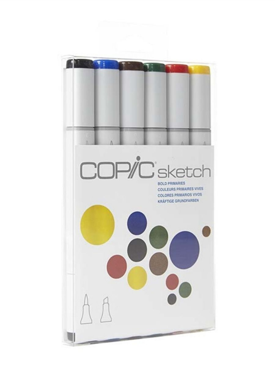 Copic Sketch - Set 6 Marcadores Bold Primaries; Colores Primarios Vivos