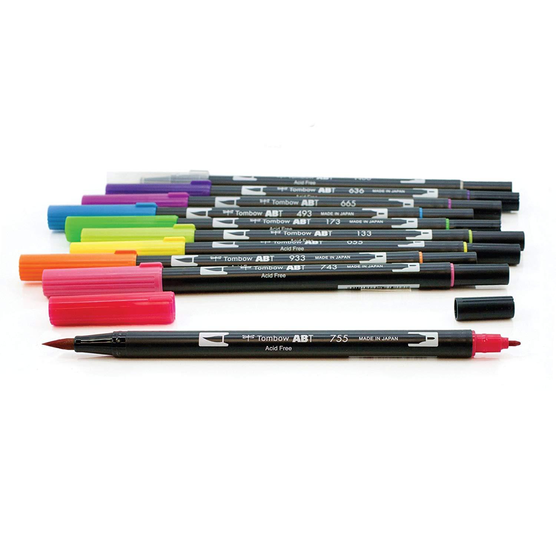 Tombow Dual Brush - Set 10 Marcadores; Colores Vivos