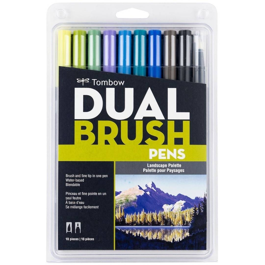 Tombow Dual Brush - Set 10 Marcadores; Colores Paisaje