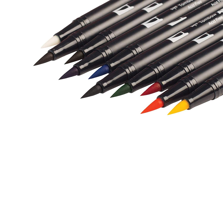 Tombow Dual Brush - Set 10 Marcadores; Colores Primarios