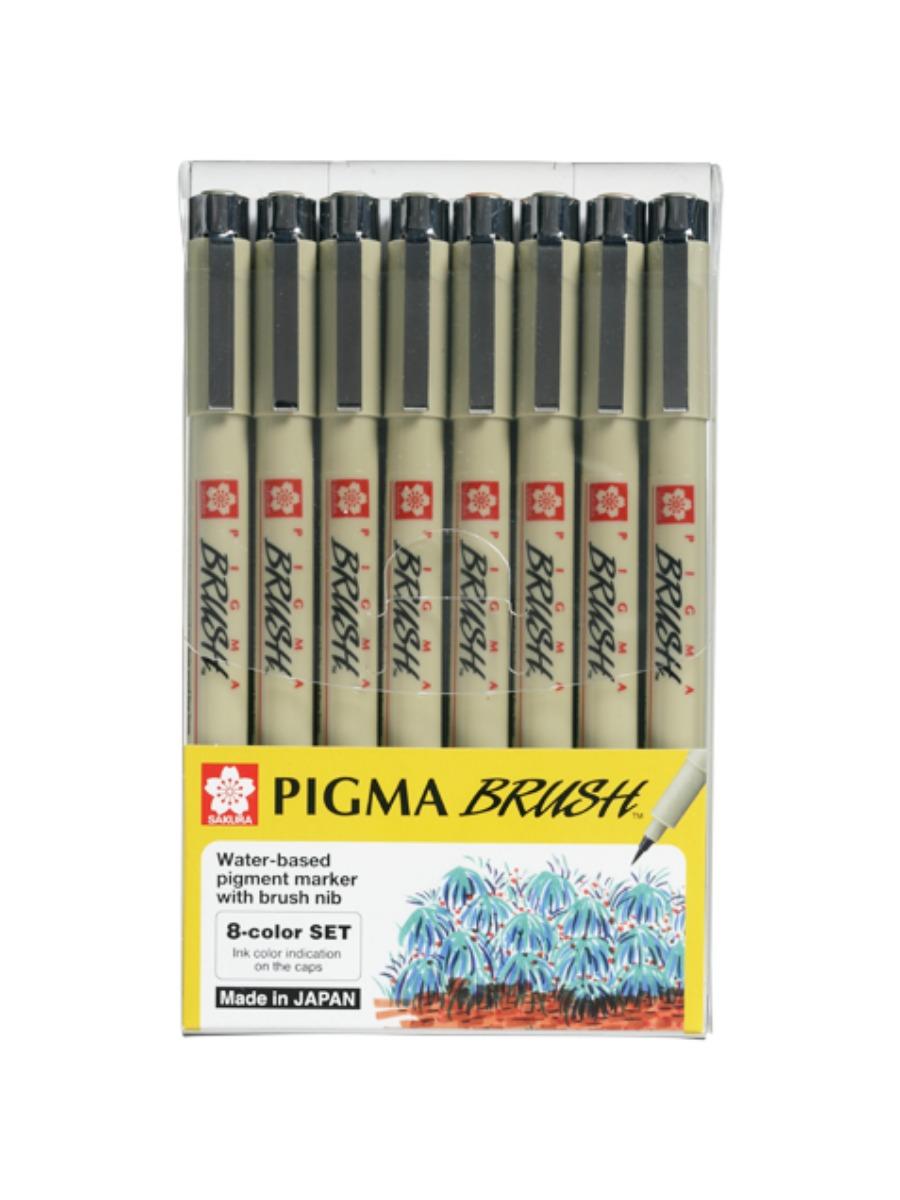 Sakura Pigma Micron - Set 8 Tiralíneas Colores; Brush (Punta de Pincel)