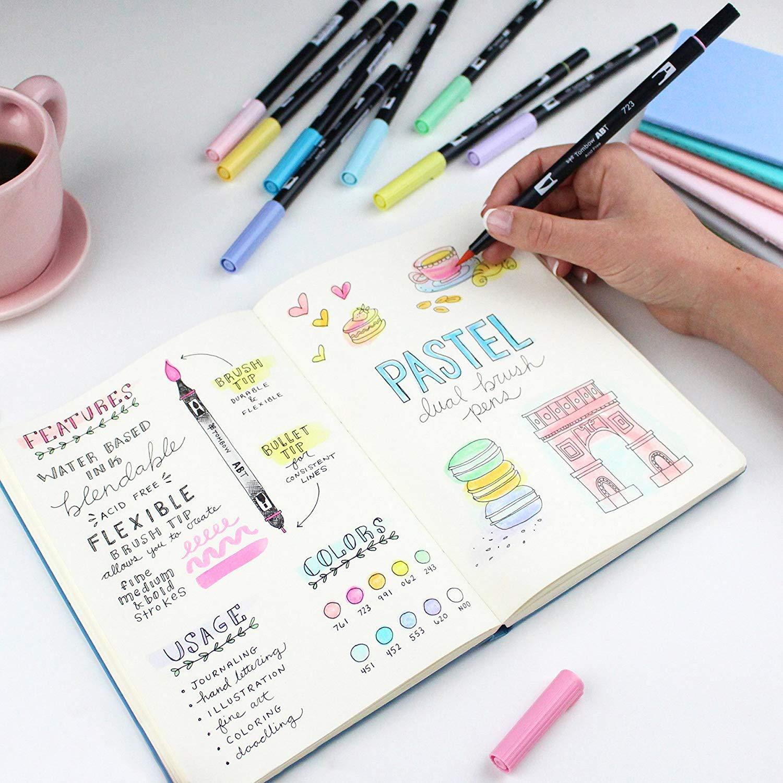 Tombow Dual Brush - Set 10 Marcadores; Colores Pastel