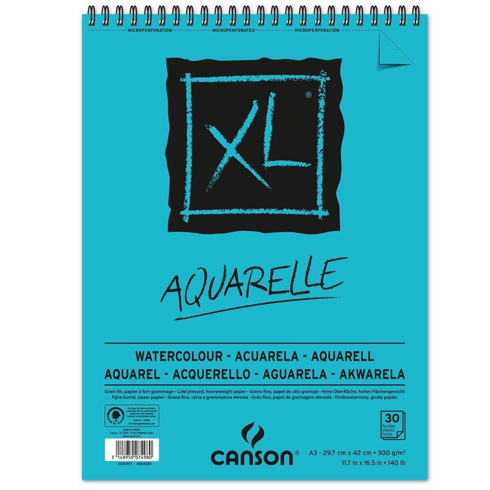 Canson XL - Croquera Aquarelle, A3 29,7 x 42 cm, 30 Hojas, 300 gr/m2